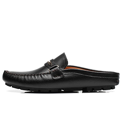 Slip Nero Pelle On estive Mocassini Scarpe Half Loafers in Slipper Penny Shoes Driving Uomo Esthesis Z6nfHZz