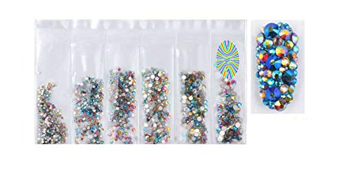1 Pack Mixed Ss4-Ss16 Flatback Nail Rhinestones Crystal Ab Colorful 3D Glass Stones Diy Charm Gems Manicure Nail Art Decorations,Sz15-Mixed Ab]()
