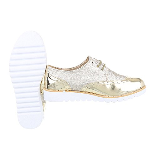 Flats Lace Up Design Gold Ital 62036 Women's HgZIqnEw