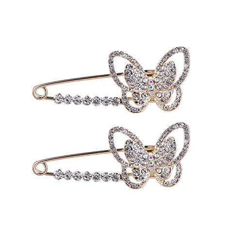 Brooch Butterfly Dress (Mystart 2 Pieces Alloy Rhinstone Butterfly Safety Pins Jewelry Brooch Pins for Blankets Scarves Sweater)