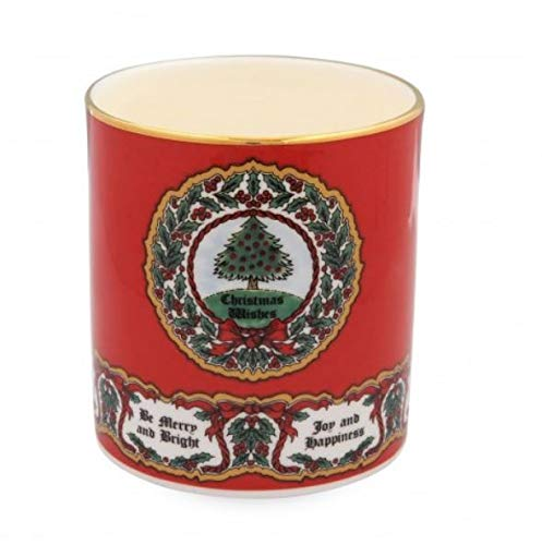 Halcyon Days, Vintage Christmas Tree Fine English Bone China Candle Holder/Container, 24K Gold Trim