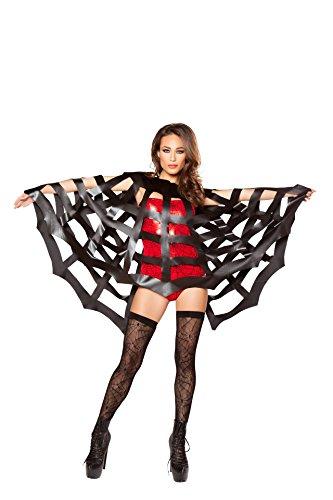 Spider Woman Bodysuit Costume (Roma Costume Black Spiderman Spiderwoman Cape One Size)