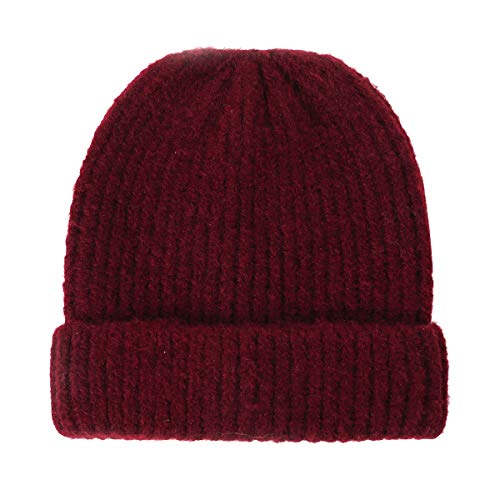 Men Women Beanie Winter Hat - Wine Red Knit Thick Headwer Slap Cap C C Skull Cap Chemo Cancer Lady Hiking,Skiing,Cycling,Hunting,Snowboarding Cap Christmas Santa Day Gifts For Women Men