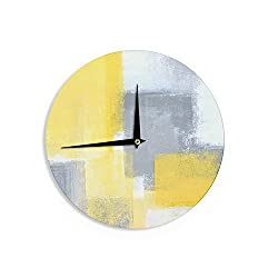 KESS InHouse CarolLynn Tice Steady Yellow Gray Wall Clock, 12