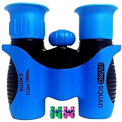 Living Squad Kids Binoculars 8x21 - Shock Proof Toy Binoculars Set - High Resolution & Real Optics for Bird Watching, Hunting & Hiking- Birthday Present for Girls & Boys, Top Outdoor Gift for Children