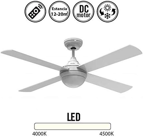 Ventilador de techo DC con luz Serie Raica Blanco: Amazon.es: Hogar