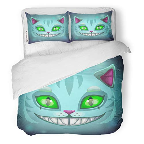 Semtomn Decor Duvet Cover Set Full/Queen Size Blue Alice Fantasy Scary Smiling Cat Face Cheshire Green 3 Piece Brushed Microfiber Fabric Print Bedding Set Cover