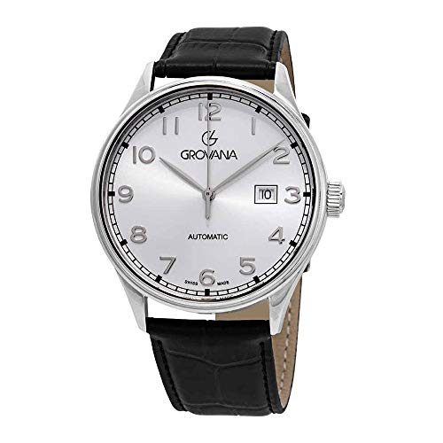 Grovana Automatic Silver Dial Black Leather Mens Watch 1190.2532