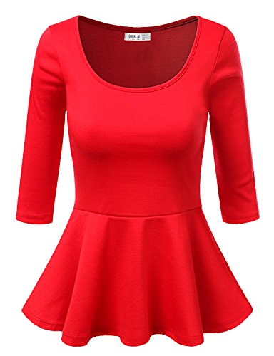 SUNNYCI 3/4 Sleeve Round Neck Shirring Fitted Peplum Top Red Small