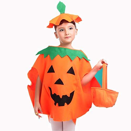 Simple Kid Halloween Costumes (Halloween Pumpkin Costume for Kids Boys Girls Children Unisex-Child Cosplay Suit Party Role Play Clothes 3 Pcs Thanksgiving Autumn Harvest (Pumpkin Hat + Pumpkin Bucket))