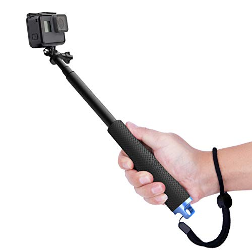 Luxebell Selfie Stick Adjustable Telescoping Monopod Pole for Gopro Hero 7 6 5, Session 5, Hero 4/3+/3/2 Fusion (Black)