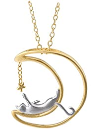 Sterling Silver Moon Cat Necklace Cat Pendant Charm Necklaces for Woman
