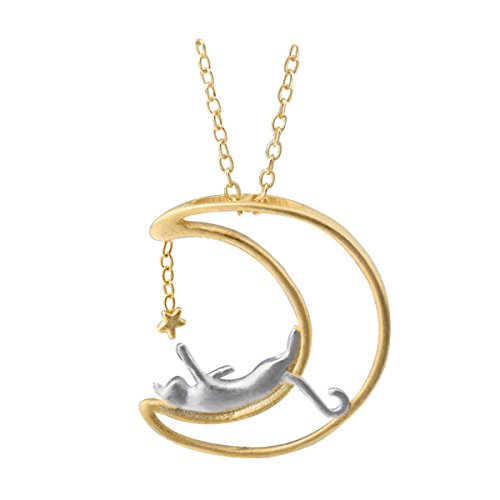Meow Star Sterling Silver Moon Cat Necklace Cat Pendant Charm Necklaces for Women 14K Gold Plated (Scrub)