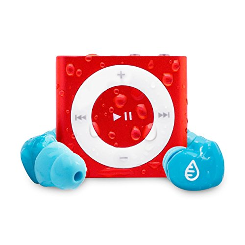 Waterfi Waterproof iPod Shuffle Swim Kit with SwimActive Waterproof Headphones, Durable Zip Case, Signature PlatinumX Waterproofed iPod and 2 Year Warranty (Red)