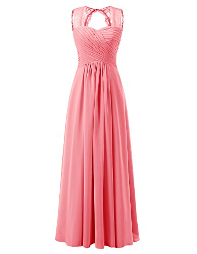 Informal Bridesmaid Dresses (Tideclothes ALAGIRLS Women's Lace Straps Chiffon Bridesmaid Dresses Long Wedding Party Gowns Coral US10)
