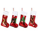 """mantel decorating ideas 16"""" 4 Pack Personalized Mermaid Sequin Christmas Stockings - Luxury Red/Gold & Red/Green Flip Up Change Color Sequins- Great Gift Idea for Kids & Family, Perfect Xmas Decorations For Mantel Fireplace"""