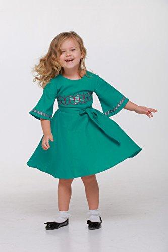os vestir Lino Girl Vyshyvanka Largo Ropa y de boho estilo azul En Baby Vestido de 7 verde a 804TxO