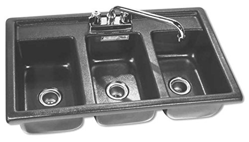 Moli International Three Compartment Drop In Sanitizing Sink 2 Comp Sink Drainboard