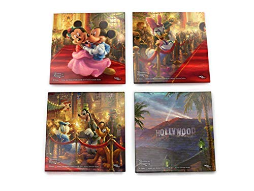 Disney Mickey and Minnie Mouse in Hollywood Glass 4 Piece Coaster Set - Thomas Kinkade - Comes with stylish modern wooden holder - Coaster Piece Glass Four