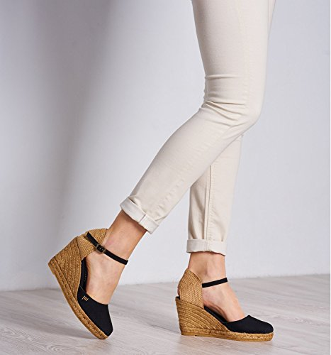 6;cm Viscata Classic Toe In Spain Espadrilles strap 7 Heel Satuna Black Closed Made Ankle Cuneo EETpfq