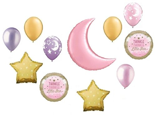Twinkle Twinkle Little Star Gold Crescent Pink Moon Baby Girl Shower Balloon Bouquet Decorating Kit 11 Piece Mylar and Latex Balloons Set -Plus (1) 66' (66 Foot) Roll of Curling Balloon Ribbon (Bouquet Crescent)