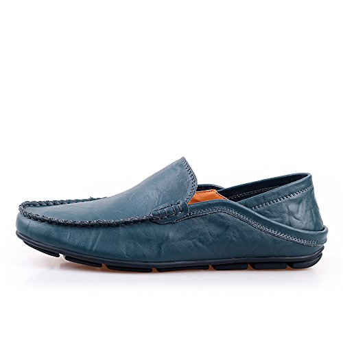 Vare 38 Conducción Mocassins EU on los Color Hombres Meimei Penny Slip Ajustable tamaño Goma Low Mocasines de Barco Vamp Respaldo Casual Suave shoes Suela de sin Azul Top 0xFF5qpZ