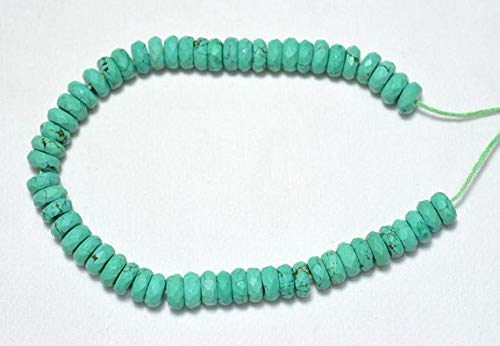GemAbyss Beads Gemstone Clearance Sale Turquoise Faceted Heishi Beads, Howlite Spacer Beads, Chinese Turquoise, Tyre Shape Beads,8mm, 8 Inches Strand Code-MVG-23906 -