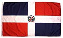 3x5 Feet Dominican Republic Flag with Brass Grommets.  Great flag to hang outdoor or to keep inside.  Vibrant colors of blue and red with the national coat of arms in the middle.  All listing pictures are that of the actual product. 3 by 5 Ba...