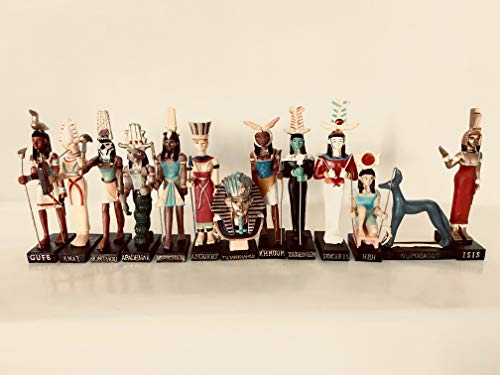 Ancient Egypt Egyptian God 13 Figurines Set Resin Statue Size 5 High Khnoum, Apademar, Gueb, Anouket, Tatenen, Heh, Anat, Tutenchamon, Isis, Oupouaout, Sokaris, Nefertoum, Monthou Amercom EG-3