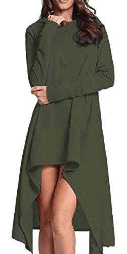 Felpe Militare Verde Qianqian Donne Hoodies Delle Allentati Manica Vestono Solido Bordo au Lunga Irregolare YxnTH
