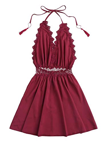 Romwe Women's Sleeveless Backless Lace Trim Fringe Halter A-line Short Mini Dress Red XL