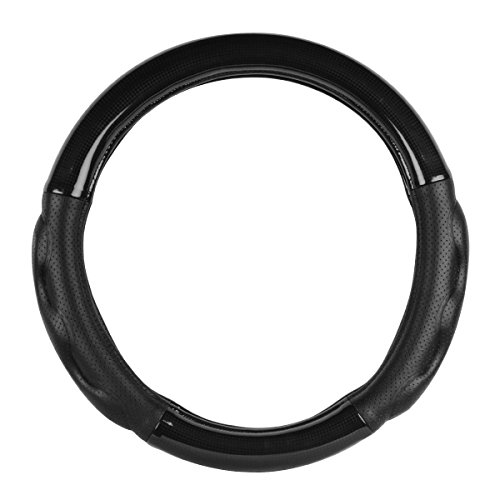 """(Grand General Black carbon fiber 54056 Deluxe Plus Series 18"""" Heavy Duty Steering Wheel Cover for Trucks, Buses, RVs and Utility Vehicles)"""