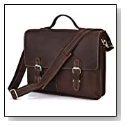 Vintage Crazy Horse HANDMADE 1ST Leather Men's Dark Brown Briefcase Messenger Crossbody Laptop Bag,M119