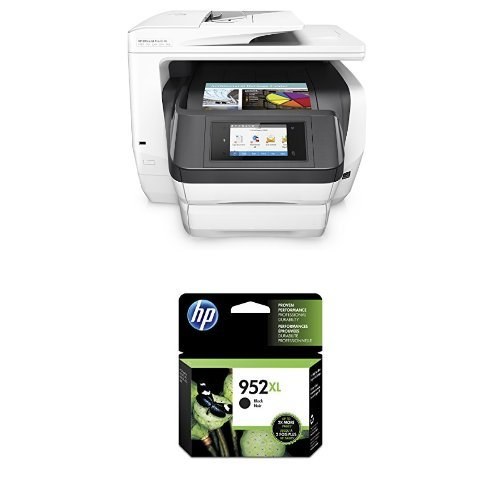 HP OfficeJet Pro 8740 Wireless All-in-One Photo Printer with Mobile Printing, Instant Ink ready (K7S42A) and HP 952XL Black High Yield Original Ink Cartridge (F6U19AN) Bundle