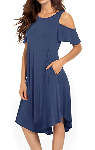 VERABENDI Women's Casual Cold Shoulder Midi Dress Short Sleeve Swing Dress with Pockets Blue Large by VERABENDI
