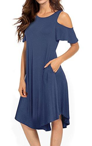 VERABENDI Women's Casual Cold Shoulder Midi Dress Short Sleeve Swing Dress with Pockets Blue Large by VERABENDI