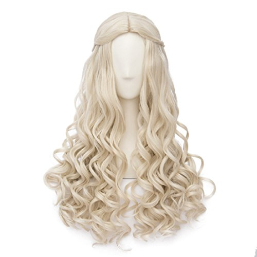 Movie Hair Wig Light Blonde Long Curly Braid Lolita Cosplay (Blonde Lolita Adult Wig)