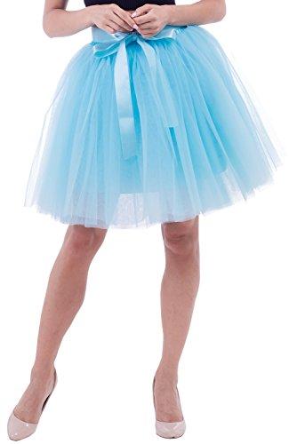 Duraplast Women's Above Knee Skirt Tutu Petticoat High Waist Tulle Light Sky Blue