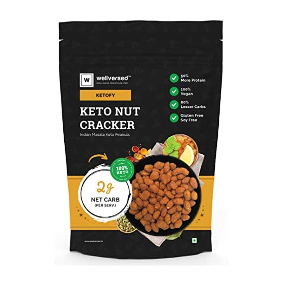 Ketofy - Keto Nut Crackers (500g) | Ultra Low Carb Masala Peanuts