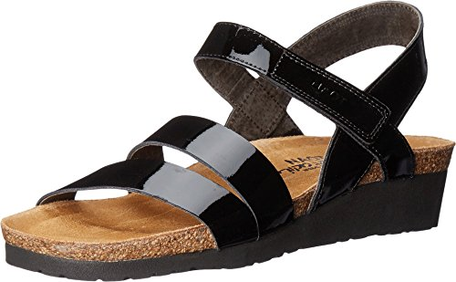 NAOT Women's Kayla Wedge Sandal, Black Patent, 39 EU/8 M US