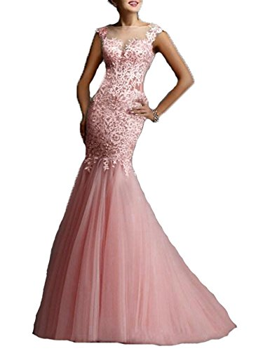 With Bateau Pink Prom BessDress Evening Mermaid Dresses Lace Applique Illusion BS197 Formal q0H5CwZ