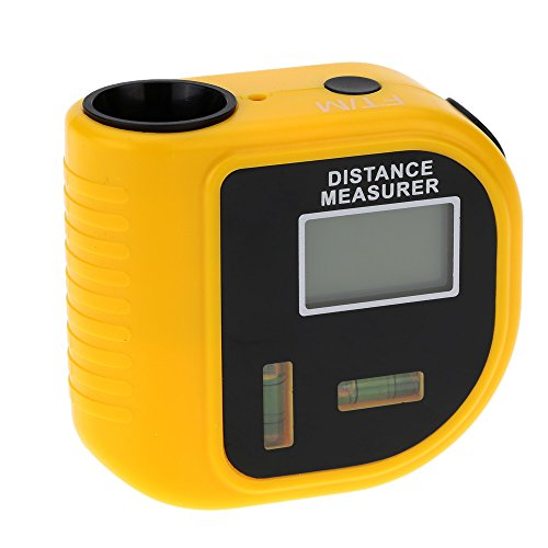 KKmoon 18m Digital Handheld Ultrasonic Distance Meter Range Finder Measure Diastimeter with Laser Point Yellow (Tape Sonic Laser)