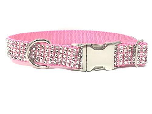 Big Pup Pet Fashion Fancy Pink Rhinestone Sparkly Dog Collar for Girls (M 1