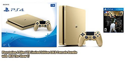Playstation 4   Slim 1 Tb Limited Edition Gold Console Bundle With Mlb The Show 17