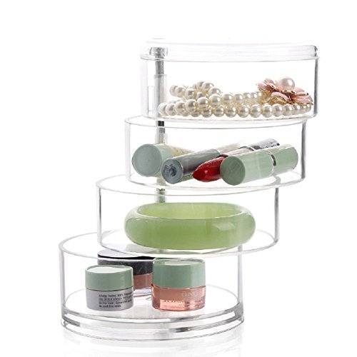 Makeup Storage,Milie Comestic Jewellery Case Beauty Clear Polystyrene Box Rotate Drawers 4 Sections by Molie (Image #1)