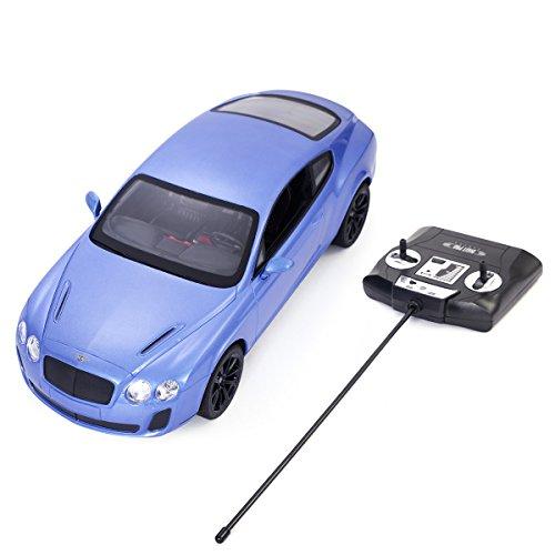 Goplus New Radio Remote Control RC Car 1/14 Bentley Continental GT Supersports Blue New