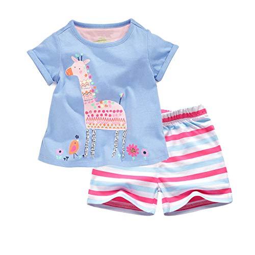 Meeyou Little Girls' Summer Outfit Tank Top and Shorts Set (4T, Giraffe-Pink)