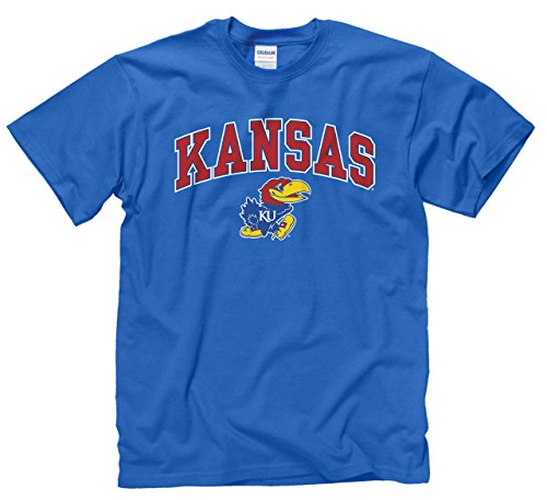 Campus Colors Kansas Jayhawks Adult Arch & Logo Gameday T-Shirt - Royal, Large (Kansas Jayhawks Apparel)