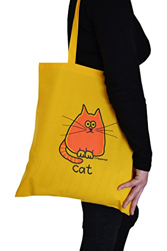 'Cat' Tote bag cotton yellow yellow Tote cotton Tote bag cotton 'Cat' bag yellow 'Cat' rZSrxn