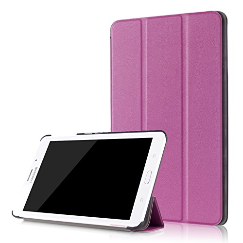 Samsung Galaxy Tab A 7.0 Case - ZAOX Leather Folding Ultra Lightweight Protective Slim Shell Stand Cover for Samsung Galaxy Tab A 7 Inch Tablet Flip 2016 Release (SM-T280/SM-T285 Version) (Purple) (7 Inch Tablet Samsung Keyboard)